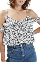 Topshop Women's Floral Print Cold Shoulder Blouse