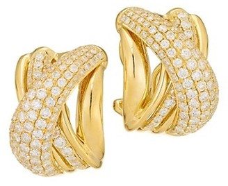 Alberto Milani Via Brera 18K Yellow Gold & Pave Diamond Crisscross Earrings