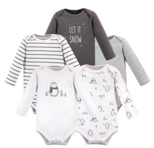 Hudson Baby Baby Boy and Girl Long Sleeve Bodysuits, 5 Pack