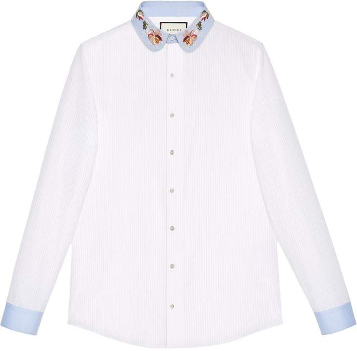 Gucci Poplin shirt with embroidered collar