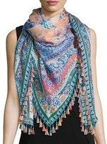 Etro Tasseled Silk Paisley Scarf, Blue/Pink