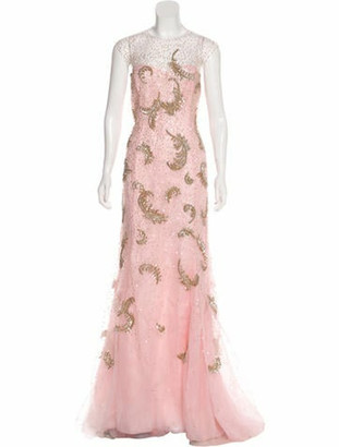 Oscar de la Renta Embellished Maxi Gown Pink