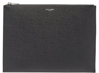 Saint Laurent Logo-print Medium Grained-leather Tablet Pouch - Black