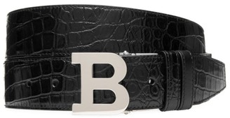 Bally B Buckle Reversible Snake-Embossed Leather Belt