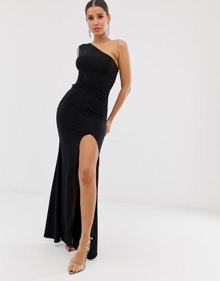 Club L London one shoulder twist detail maxi dress
