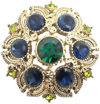 One Kings Lane Vintage Blue & Green Rhinestone Gold tone Brooch - Owl's Roost Antiques