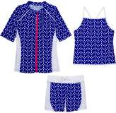 SwimZip Girls Short Sleeve Rash Guard Swim Shorts Set UPF 50+ Sun Protective Zipper Navy