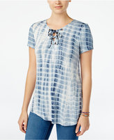 Say What ? Juniors' Lace-Up Tie-Dyed Printed Tunic Top