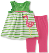 Kids Headquarters Green Stripe Flamingo Tank & Pink Leggings - Toddler & Girls