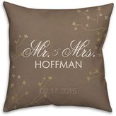 """Mr. and. Mrs."" Golden Branch Square Throw Pillow in Brown"