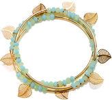 MIXIT Mixit Set of 3 Gold-Tone Leaf Bead Stretch Bracelets