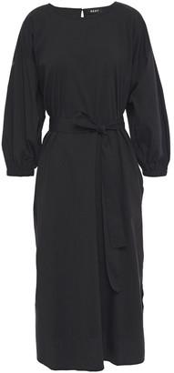 DKNY Belted Cotton-blend Poplin Midi Dress
