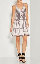 Herve Leger Cassandra Pointelle Texture Striped Dress
