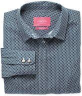 Charles Tyrwhitt Women's Semi-Fitted Non-Iron Cotton Geometric Printed Navy Shirt Size 14