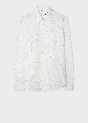 Paul Smith Men's Tailored-Fit White 'Weather Arrows' Print Cotton Shirt