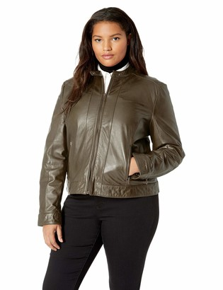 Excelled Leather Excelled Women's Plus Size Leather Moto Collar Scuba