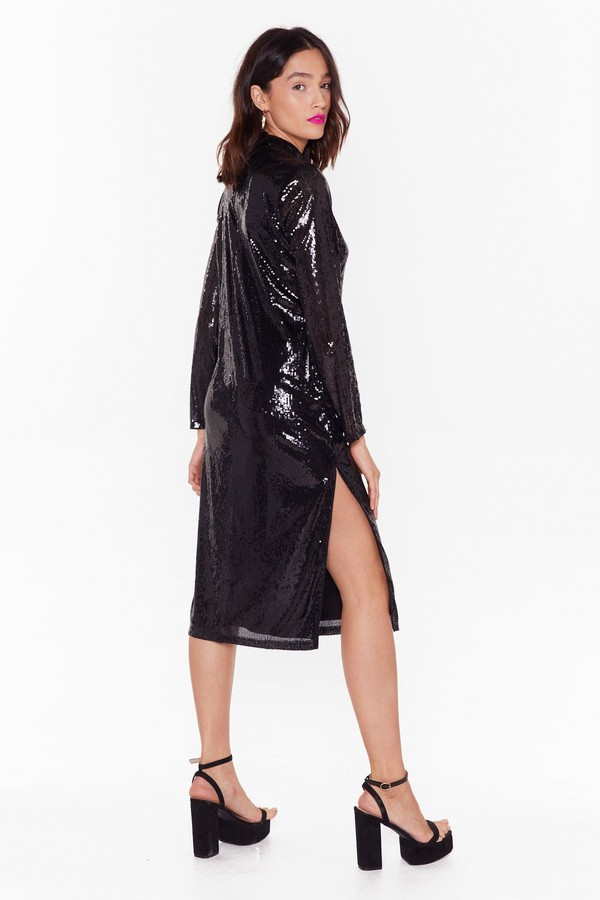 Thumbnail for your product : Nasty Gal Womens Sequin Long Sleeve Slit Midi Dress - Black - 4