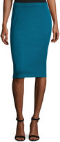 St. John Signature Santana Knit Pencil Skirt, Blue