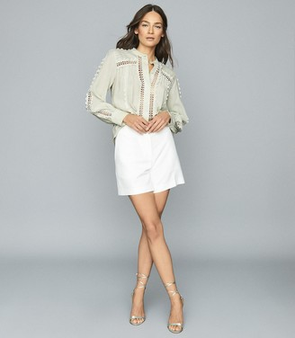 Reiss CHANTAL LACE-EMBELLISHED COTTON BLOUSE Mint