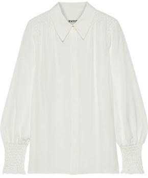 Elie Tahari Shayna Smocked Silk Crepe De Chine Shirt