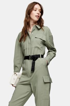 Topshop Womens Khaki Belted Boiler Suit - Khaki