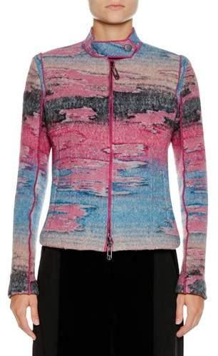 Giorgio Armani Multicolor Watercolor Zip-Front Wool-Blend Jacket