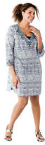 Lands' End Women's Plus Tunic Cover-up with Soutache-Silver Frost Batik