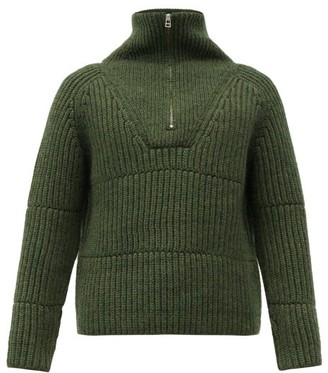 Jacquemus Olive Half-zip Ribbed Wool-blend Sweater - Dark Green