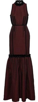 Amanda Wakeley Mesh-paneled Fringe-trimmed Houdstooth Jacquard Gown