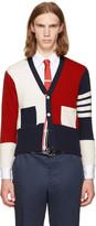 Thom Browne Tricolor Classic Short Funmix V-neck Cardigan
