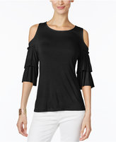 INC International Concepts Petite Ruffle-Sleeve Cold-Shoulder Top, Only at Macy's