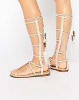 Aldo Capro White Caged Tie Up Gladiator Sandals