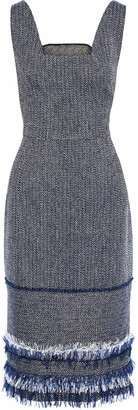 Roland Mouret Frayed Cotton-blend Crepe And Tweed Dress