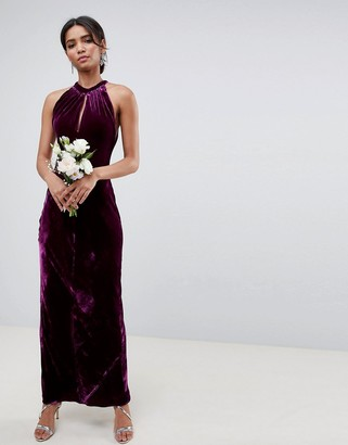 Ghost bridesmaid maxi dress with keyhole detail-Purple