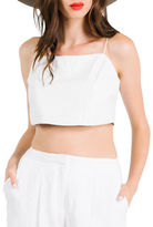 KENDALL + KYLIE Leather Crop Shell Top