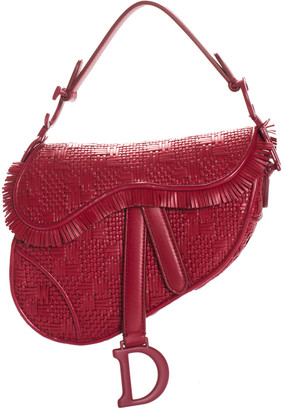 Christian Dior Limited Edition 2020 Red Leather Mini Macrame Saddle Bag Nm, Never Carried