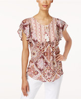 Style&Co. Style & Co Petite Cotton Flutter-Sleeve Peasant Top, Only at Macy's