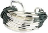 Saachi Denim Silver Bar String Bracelet