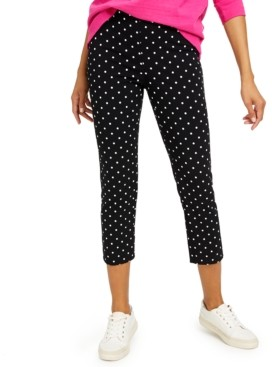 Charter Club Tummy-Control Dot Skinny Leg Capris, Created for Macy's