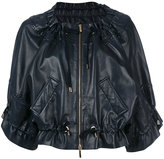 Alberta Ferretti drawstring cropped leather jacket - women - Lamb Skin/Polyester - 40