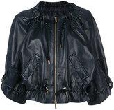 Alberta Ferretti drawstring cropped leather jacket