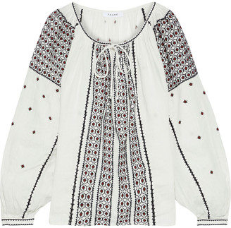 Frame Anita Gathered Embroidered Linen-gauze Blouse