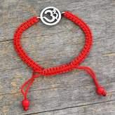 Diamond charm bracelet, 'Solitary Crimson Om'