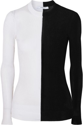 Givenchy Two-tone Ribbed-knit Sweater
