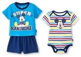 Mickey Mouse Newborn Boys' Mickey Mouse 3 Piece Bodysuit, Top & Shorts Set - Blue