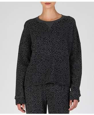 ATM Anthony Thomas Melillo French Terry Mini Animal Print Sweatshirt - Asphalt/ Black Combo