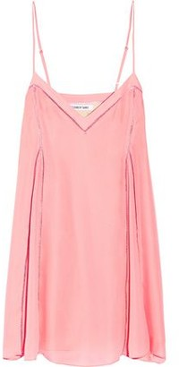 Elizabeth and James Idris Pointelle-trimmed Silk-organza Mini Slip Dress