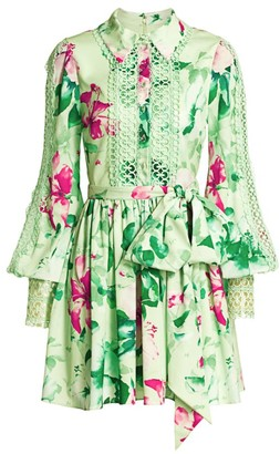 Badgley Mischka Lace-Trimmed Floral Shirtdress