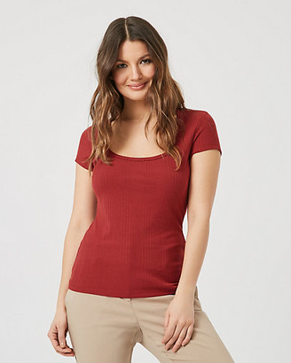 Le Château Rib Knit Scoop Neck T-Shirt