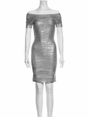 Herve Leger Dominika Mini Dress Silver